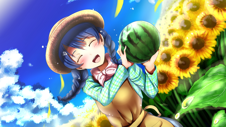 blue_hair blush braids clouds flowers food fruit hat long_hair shokugeki_no_souma sky tadokoro_megumi twintails yottin