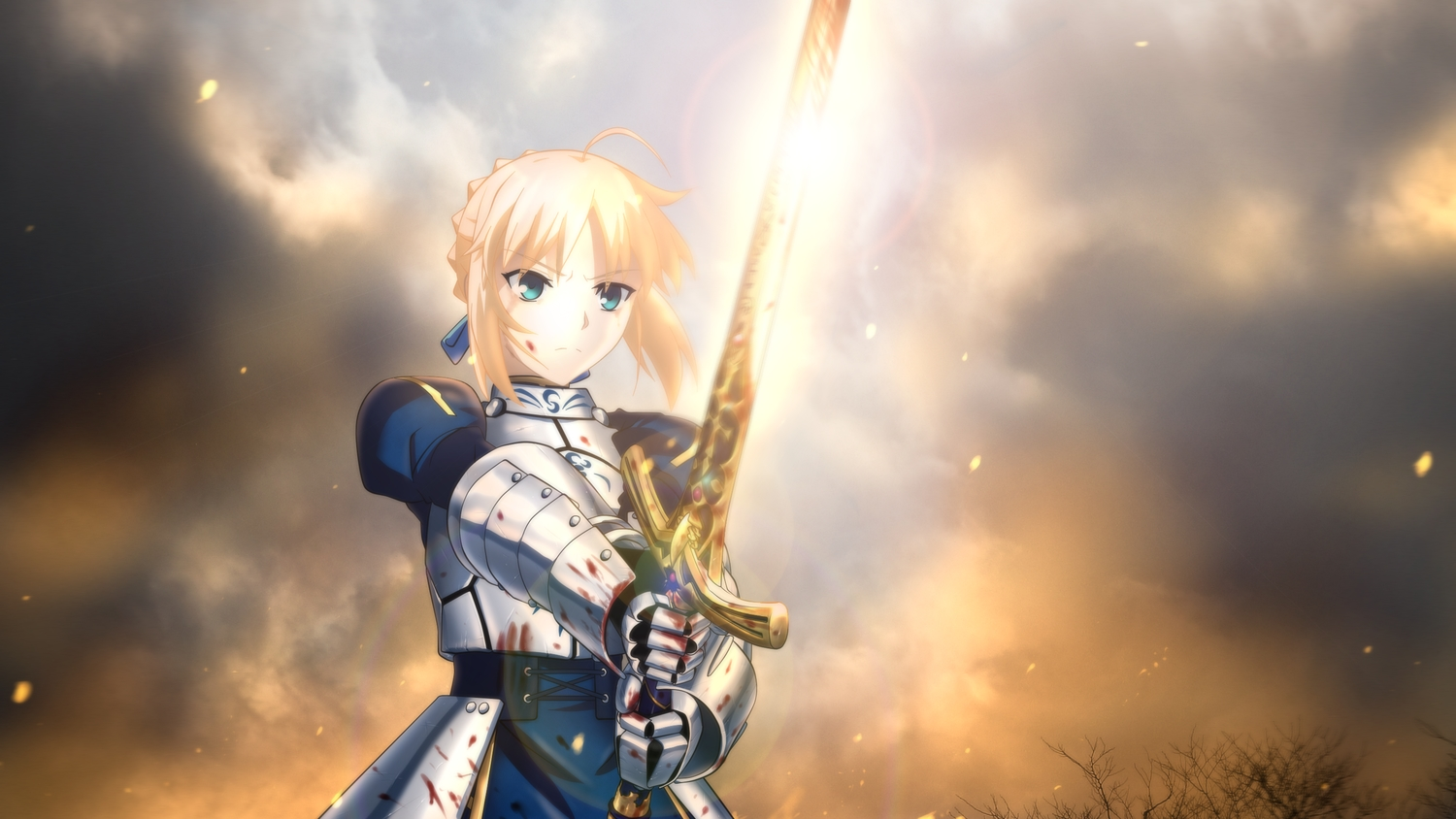 artoria_pendragon_(all) blonde_hair blood blue_eyes fate_(series) fate/stay_night genya67 saber short_hair sword weapon