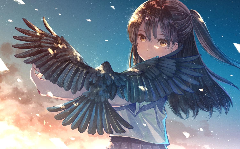 animal bird brown_hair clouds furai grass long_hair original ponytail school_uniform skirt sky sunset yellow_eyes