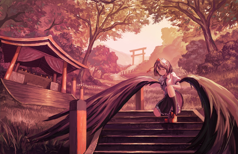 fjsmu polychromatic shameimaru_aya shrine stairs torii touhou wings