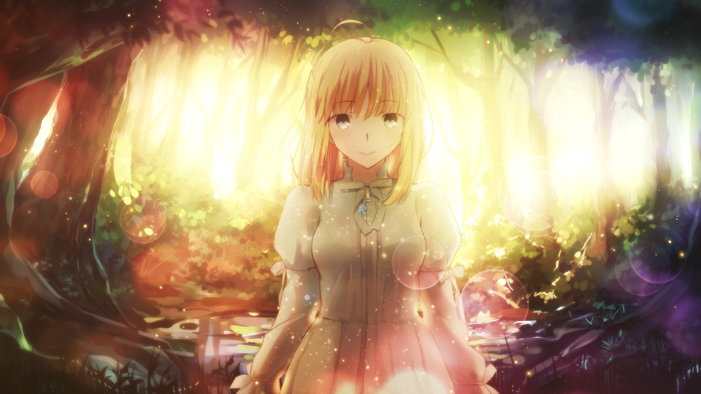 artoria_pendragon_(all) blonde_hair dress fate_(series) fate/stay_night forest magicians necklace saber saber_lily short_hair tagme_(artist) third-party_edit tree