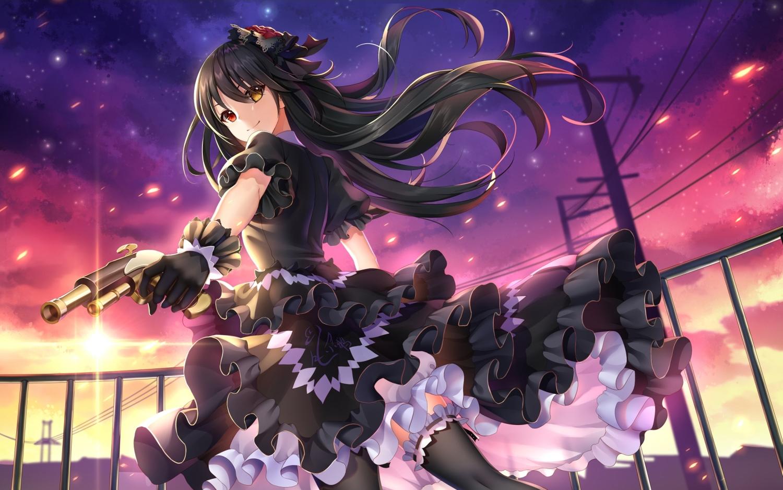 bicolored_eyes black_hair cropped date_a_live dress gloves goth-loli gun lolita_fashion long_hair night thighhighs tokisaki_kurumi weapon yue_xiao_e