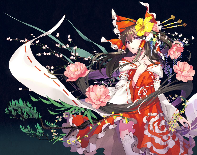 bow brown_hair flowers hakurei_reimu headdress japanese_clothes long_hair miko purple_eyes thighhighs touhou tsurukame