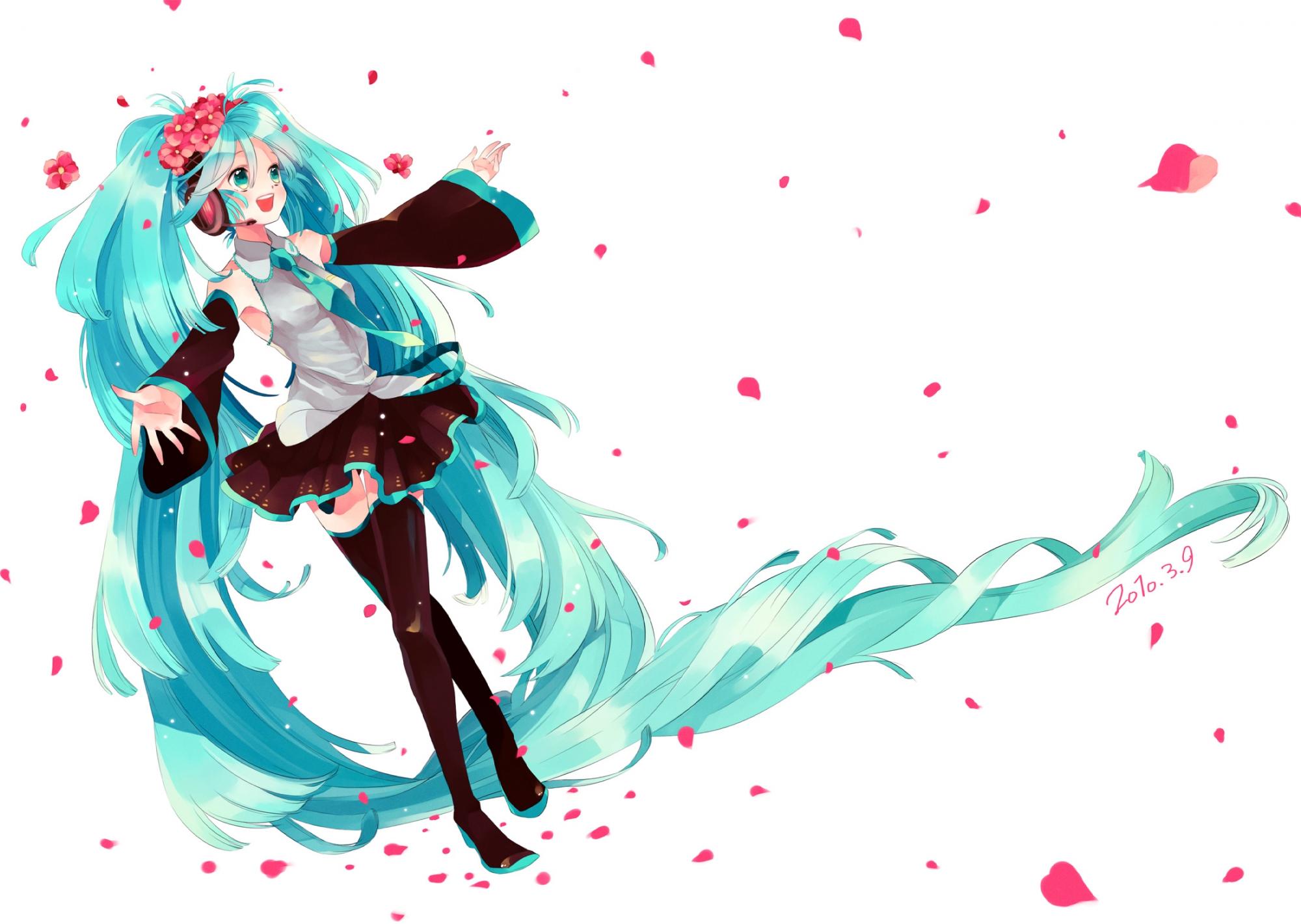 blue_eyes blue_hair flowers hatsune_miku headphones long_hair petals skirt thighhighs tie twintails vocaloid white