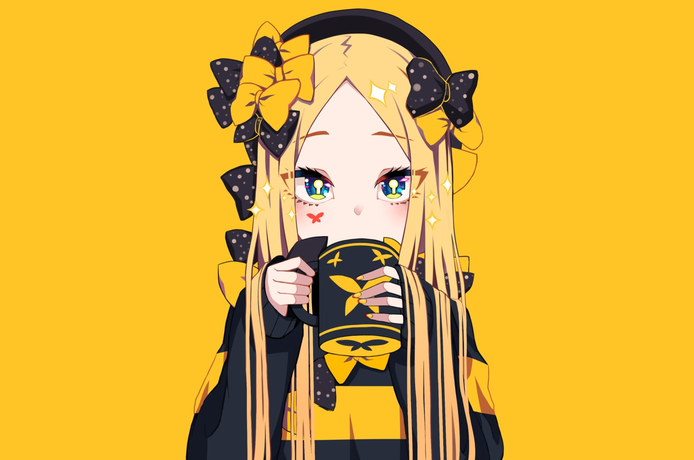 abigail_williams_(fate/grand_order) aqua_eyes blonde_hair bow close drink fate/grand_order fate_(series) hat long_hair tyureu yellow