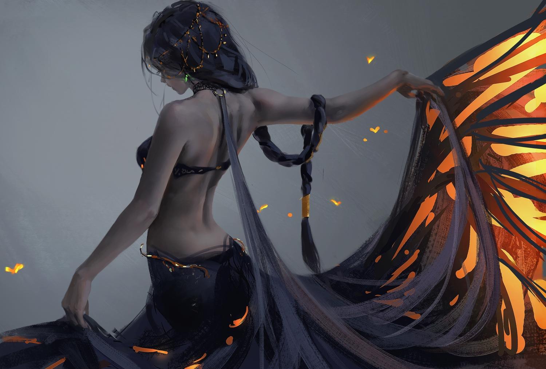 aeolian_(wlop) braids ghostblade long_hair ponytail skirt_lift wlop