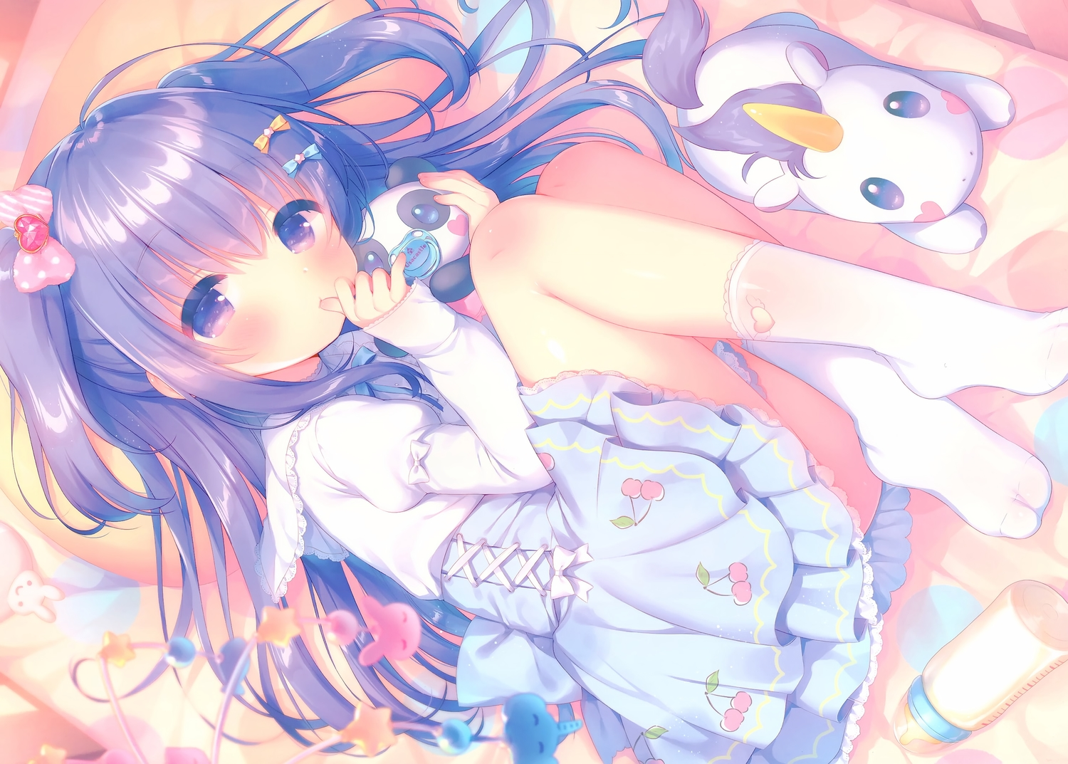 animal dress horse loli mani original purple_eyes purple_hair scan stockings teddy_bear twintails unicorn