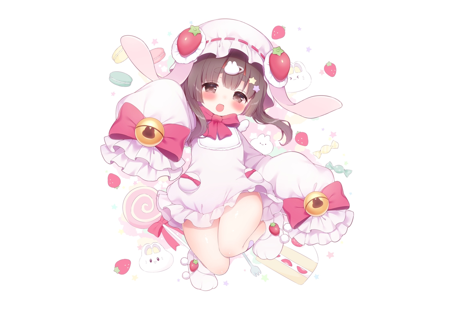 animal_ears bell blush bow brown_eyes brown_hair bunny bunny_ears candy dress fang food fruit hat koma_momozu loli lollipop short_hair strawberry white