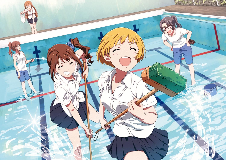 blonde_hair brown_hair fukuda_noriko glasses group idolmaster k_a_z kousaka_umi pool satake_minako school_uniform short_hair shorts skirt takayama_sayoko water yokoyama_nao