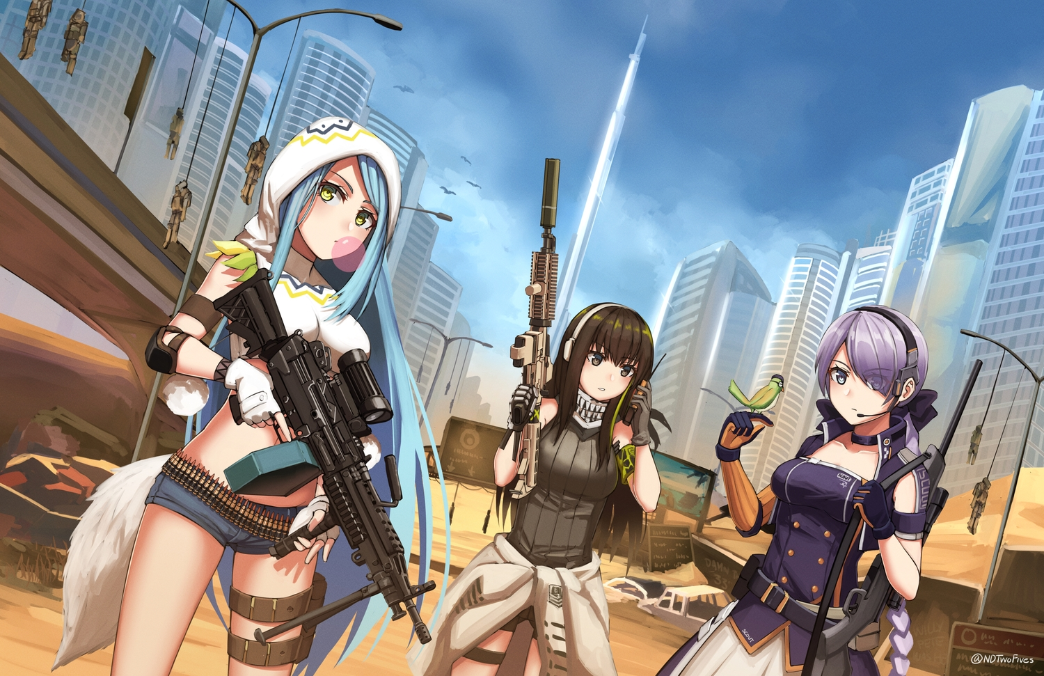 animal anthropomorphism aqua_hair bird breasts brown_eyes brown_hair building city desert girls_frontline gray_eyes gray_hair green_eyes gun long_hair m249_saw_(girls_frontline) m4a1_(girls_frontline) ndtwofives ponytail robot shorts signed sky steyr_scout_(girls_frontline) tail uniform weapon