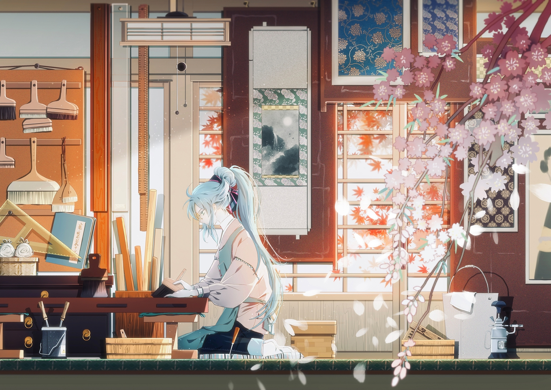 all_male amada_(12785891) cherry_blossoms flowers genderswap glasses hatsune_miku male vocaloid