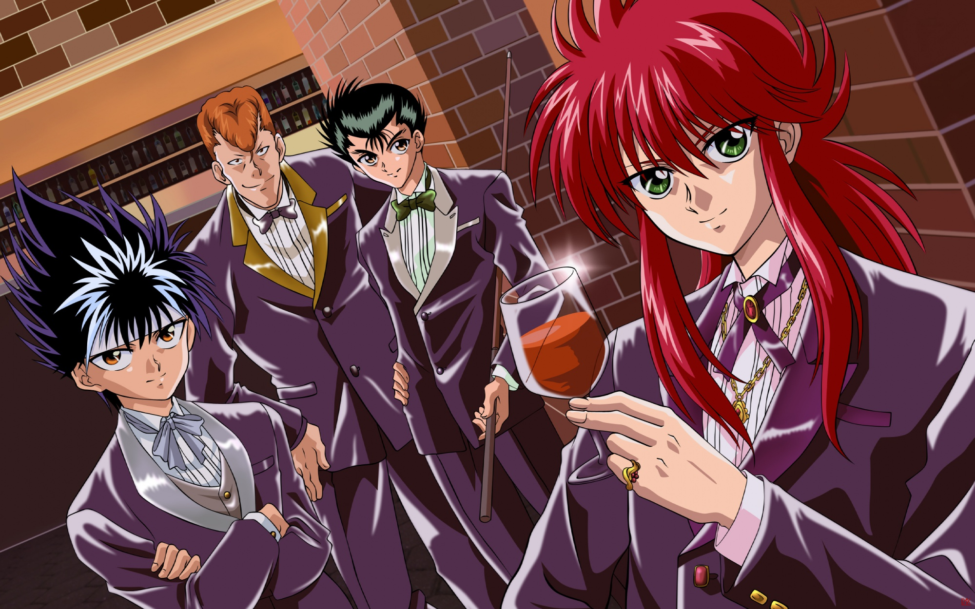 all_male black_hair bow brown_eyes brown_hair drink green_eyes hiei_jaganshi kurama kuwabara_kazuma long_hair male red_hair short_hair smoking suit urameshi_yuusuke yu_yu_hakusho