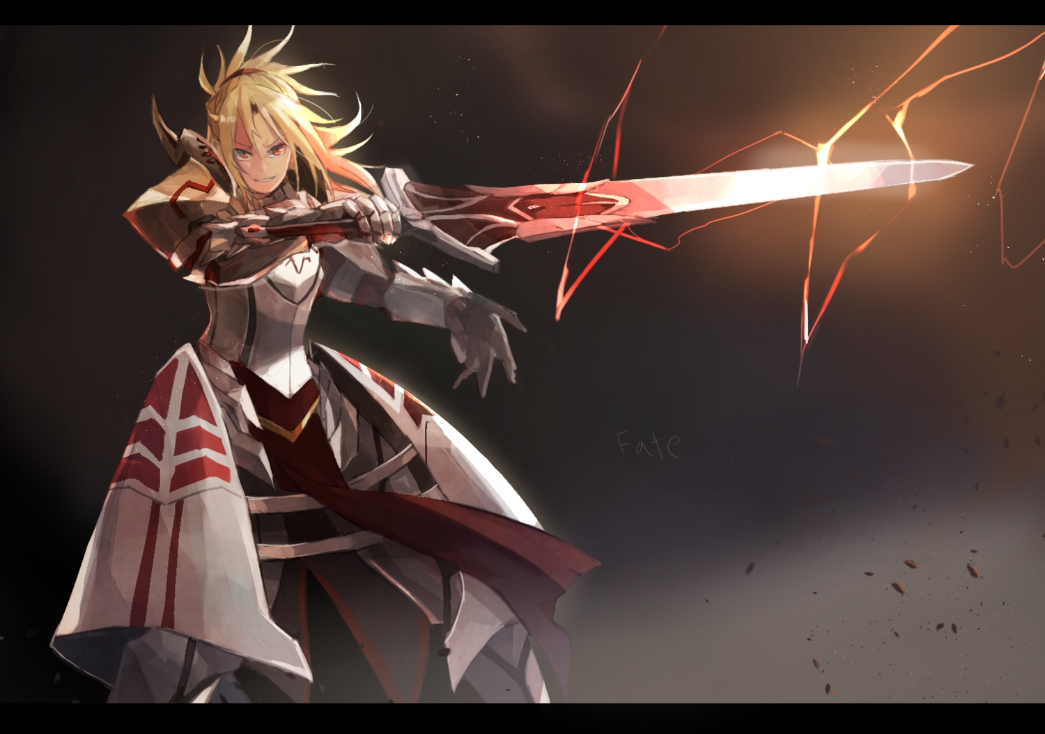 armor blonde_hair dress fate/apocrypha fate/grand_order fate_(series) mono_(jdaj) mordred orange_eyes short_hair sword weapon