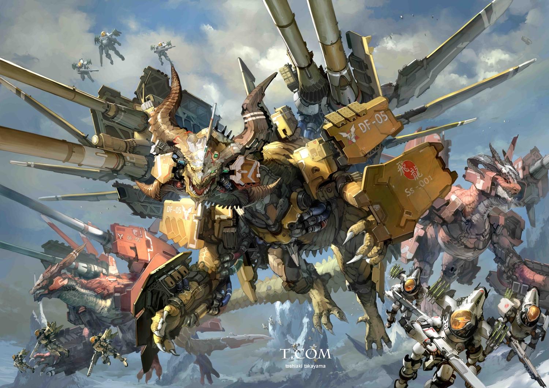 dragon gun horns mecha original takayama_toshiaki weapon