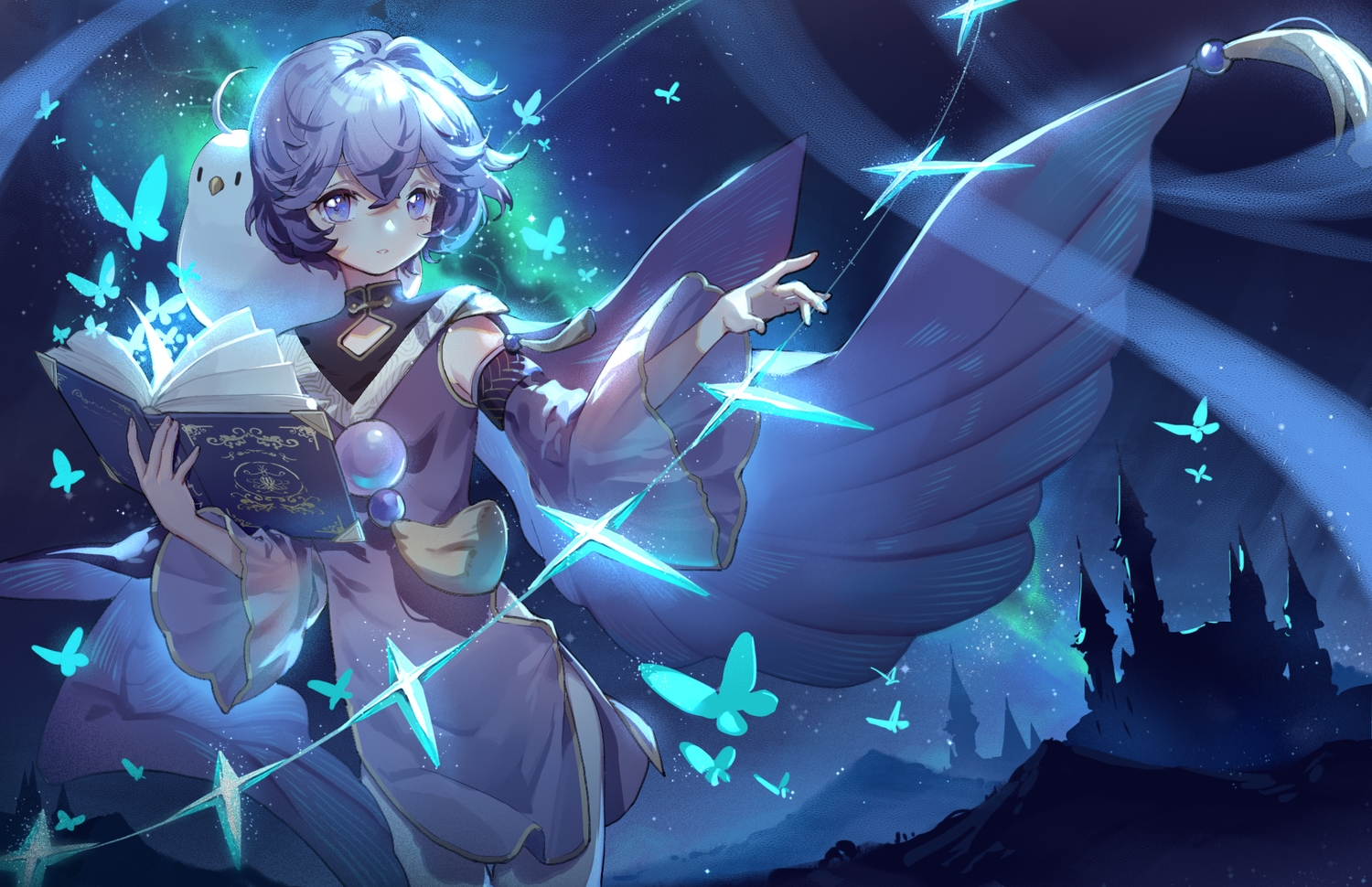 animal bird blue blue_eyes blue_hair book building dress mage magic night original short_hair silhouette sky wings yuzhi