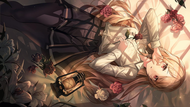 brown_hair flowers harusame_(user_wawj5773) long_hair original pantyhose red_eyes rose shirt skirt