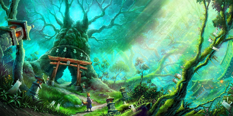 animal_ears building forest foxgirl grass green original scenic tail tami torii tree