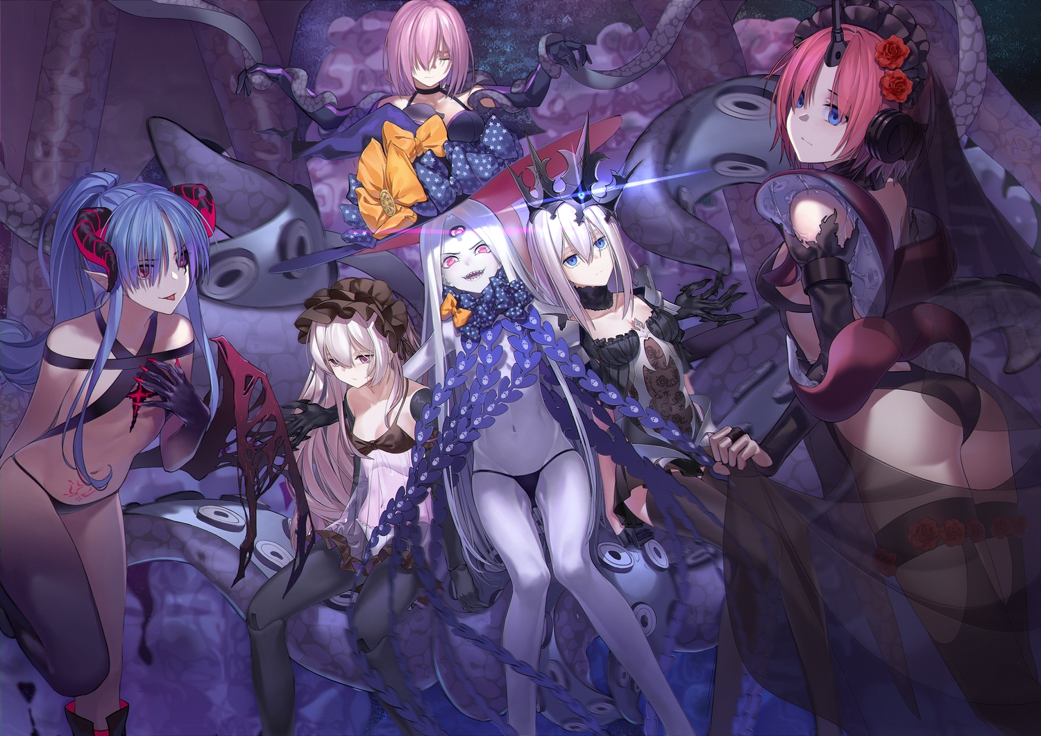 abigail_williams_(fate/grand_order) ass bikini blonde_hair blue_eyes blue_hair bondage bow caster_lily doll dress elbow_gloves fate/grand_order fate_(series) frankenstein gloves group hat horns long_hair marie_antoinette_(fate/grand_order) mash_kyrielight navel nursery_rhyme_(fate/extra) pantyhose pink_eyes pink_hair pointed_ears ponytail purple_eyes qiong_sheng see_through short_hair swimsuit tentacles thighhighs white_hair wings