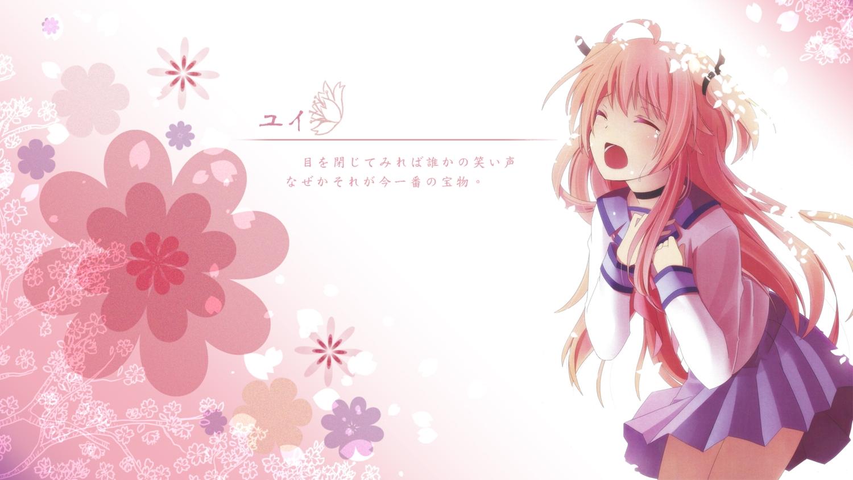 angel_beats! crying long_hair na-ga pink pink_hair school_uniform tears yui_(angel_beats!)