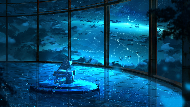 abisswalker8 aliasing blue instrument monochrome moon night original piano reflection scenic sky