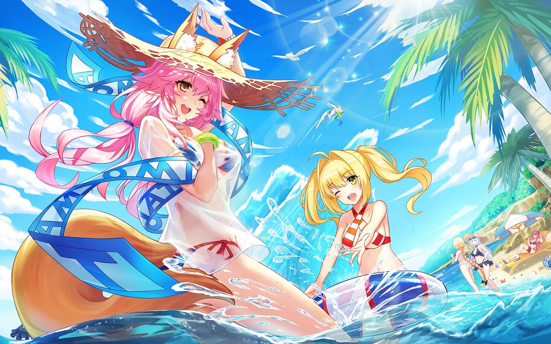 animal_ears bikini cu_chulainn fate/grand_order fate_(series) foxgirl group jeanne_d'arc_alter jeanne_d'arc_(fate) male nero_claudius_(fate) scathach_(fate/grand_order) swim_ring swimsuit tagme_(artist) tamamo_no_mae_(fate)