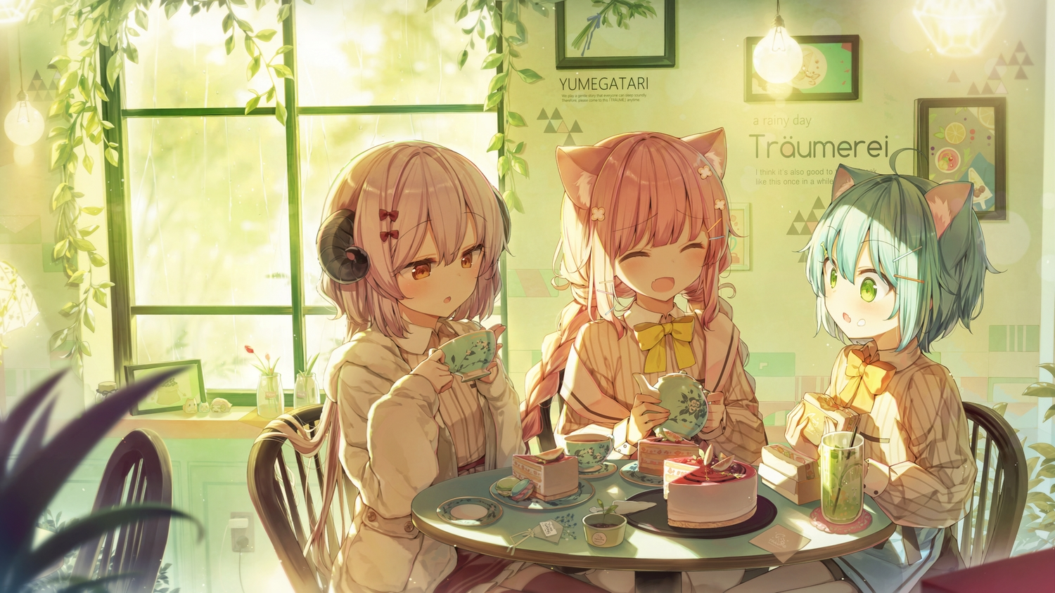 animal_ears cake catgirl drink food green_eyes green_hair horns long_hair orange_eyes original pink_hair shinoba short_hair shorts thighhighs twintails