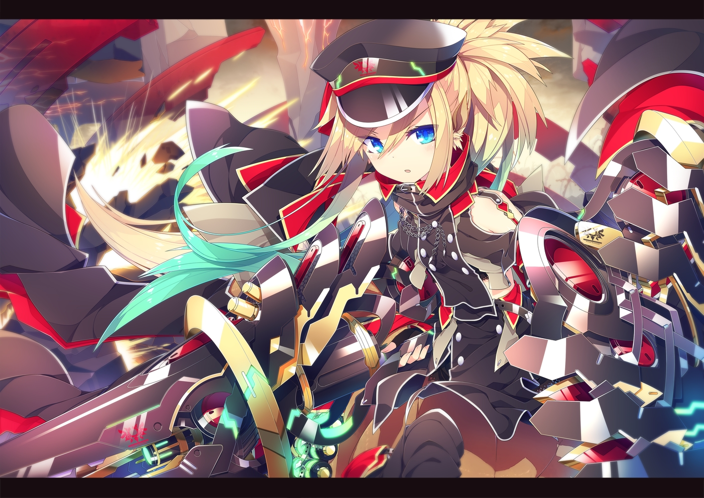 aqua_eyes blonde_hair blush chain hat ichiyan long_hair original ponytail sword weapon