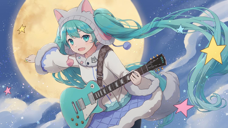 aqua_eyes aqua_hair blush clouds guitar hat hatsune_miku instrument long_hair moon night skirt sky stars tagme_(artist) tail twintails vocaloid